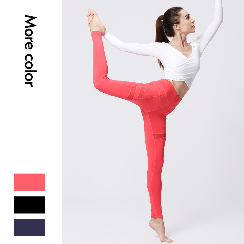 Women Sexy Mesh Yoga Pants High Waist Sports Tights Female Sports Wear Fitness Gym Legging Push Up Training Workout Pants Soft in Yoga Pants from Sports Entertainment