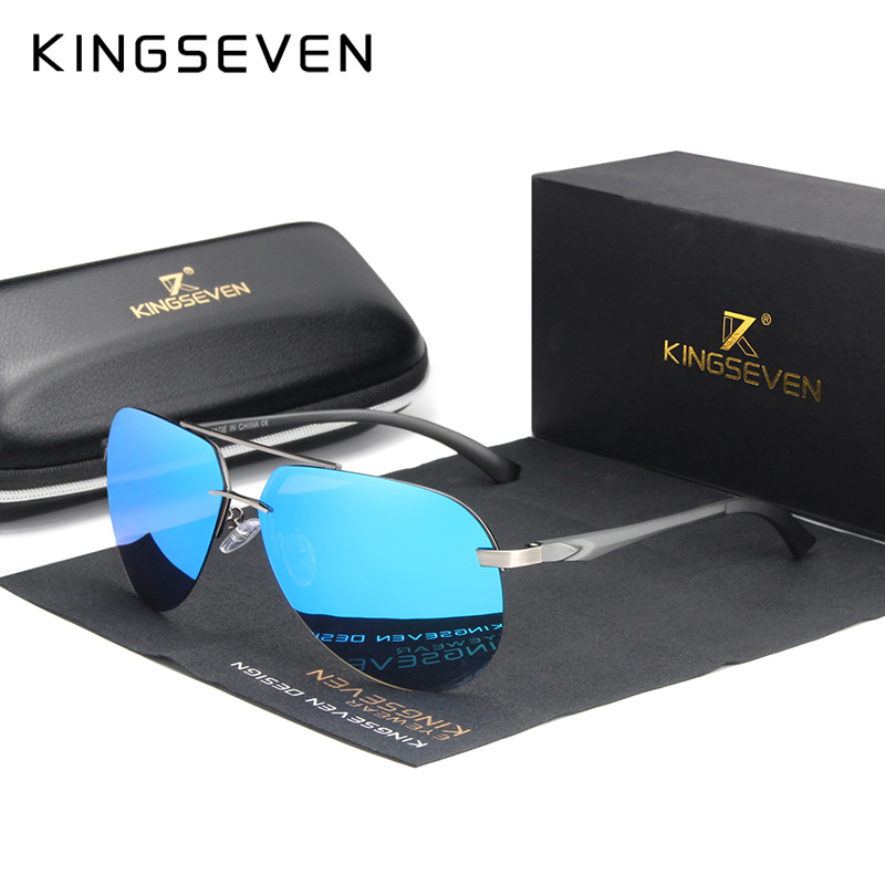 KINGSEVEN Aluminum Magnesium Polarized Rimless Lens Sunglasses For Men High Definition Retro Eyewear Oculos De Sol