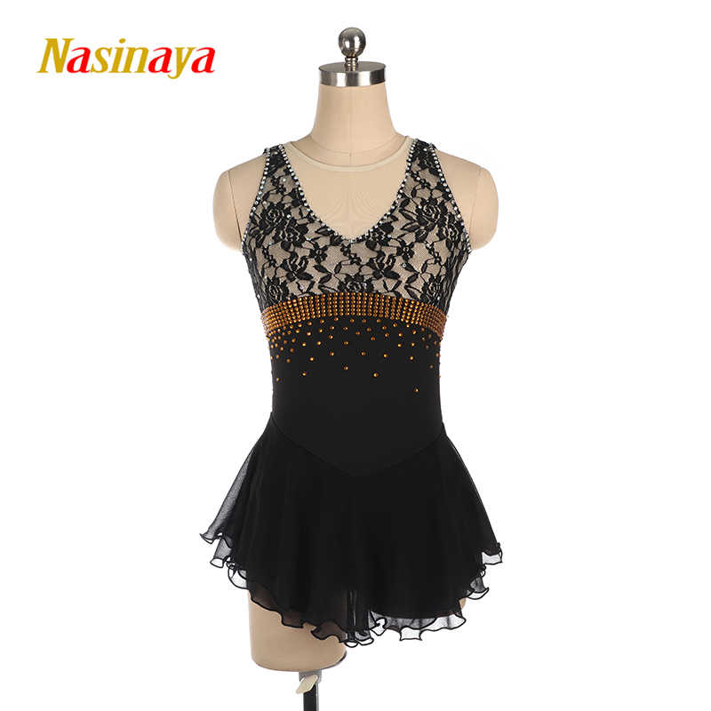 Черное платье для фигурного катания с длинными рукавами, юбки для конькобежцев, спандекс