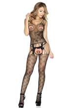 PADEGAO sexy lingerie women strap bodystockings black mesh cross Bandaged hollow bodysuit erotic open crotch see through teddy