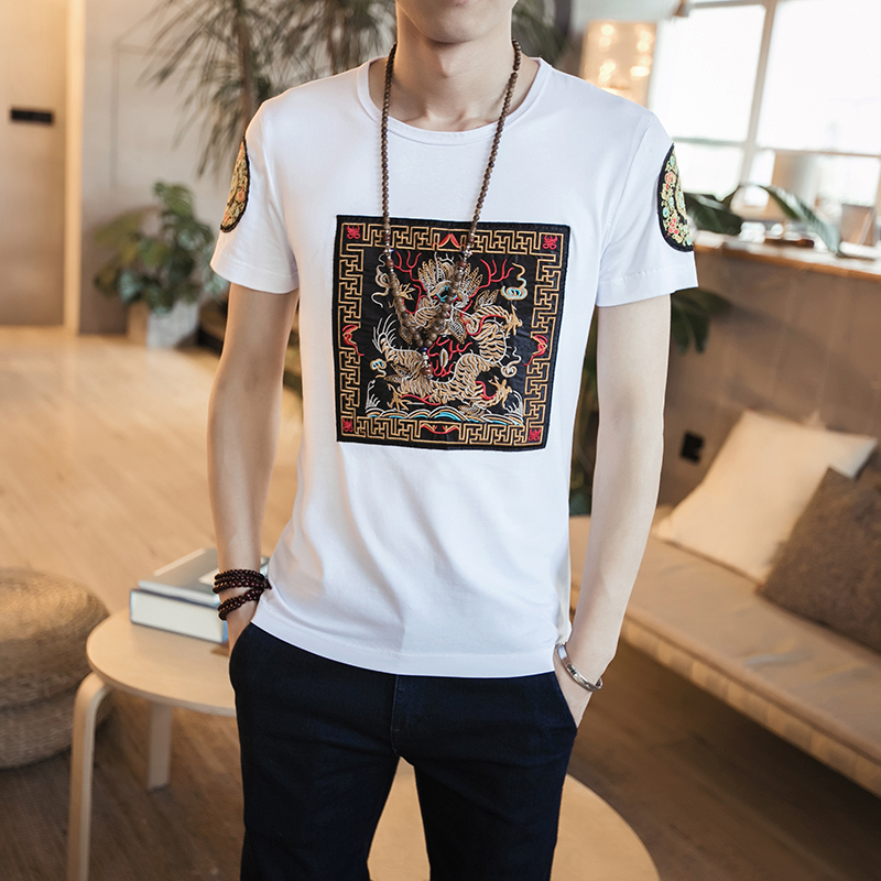 2017 summer t shirt men fashion dragon pattern patch for T shirt design 2017