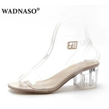 WADNASO New Summer Lady Sexy Pumps Roman Transparent Crystal Women Shoes High Heels Fashion  Fish Mouth Woman Sandals