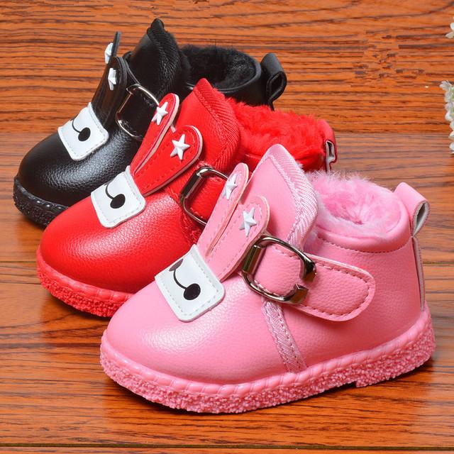 Zapatos Para Niñas Botas de invierno Del Bebé Del Algodón Niños de Los Bebés Zapatos Inferiores suaves de Terciopelo Caliente de Espesor Botas Zapatos Impermeables 0-2 años
