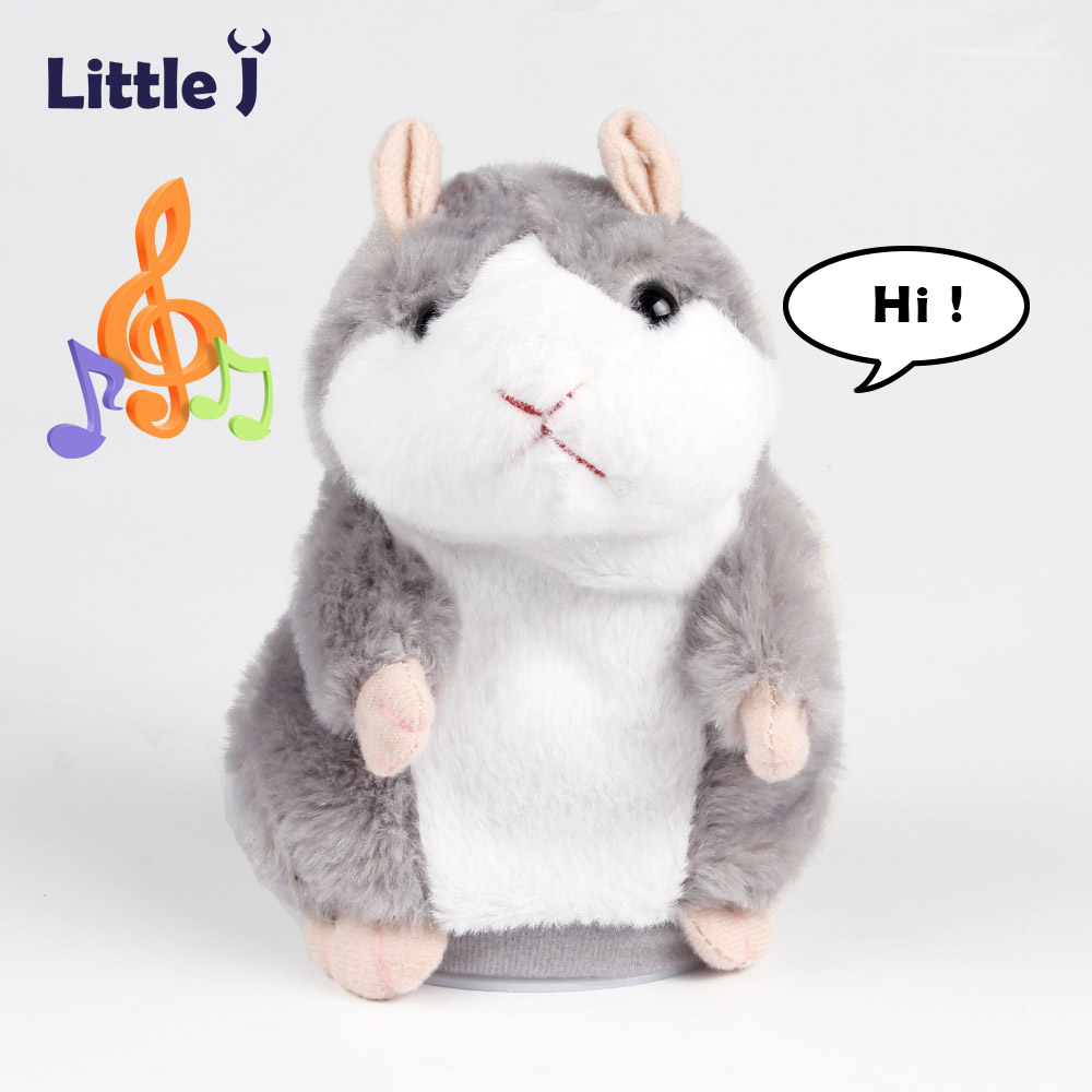 Little J 2017 Lovely Talking Gray Hamster Plush Toy Speak Talking Sound Record Hamster Vibrating Nodded Mouse Toys For Children talking hamster speak talk sound record repeat stuffed plush animal child toy