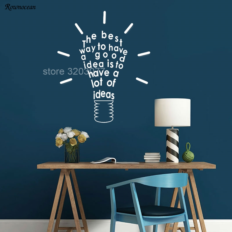Inspire Message Idea Wall Decals Quotes Wall Sticker For Office Room Light Bulb Design Removable Art Home Decor Mural H562