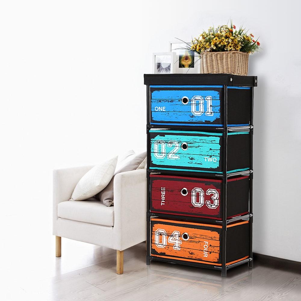 IKayaa Organizer Antiken Stil Stoff 4 schublade Home Office ...