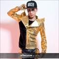 Estilo de la estrella masculina del traje de lentejuelas de oro personalidad prendas de vestir exteriores traje cantante etapa desgaste espectáculo de danza ropa de oro negro