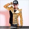 Estilo estrela masculina traje de lantejoulas de ouro personalidade outerwear terno desgaste estágio show dancer cantor roupas de ouro preto