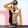 Star style male costume gold sequin outerwear personality suit stage wear show dancer singer clothes gold black