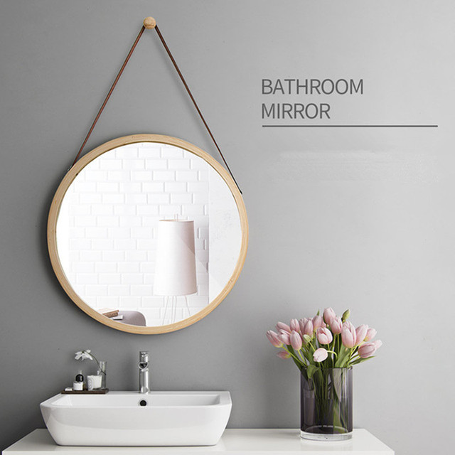 European Style Dressing Mirror Bathroom Wall Decoration Small Round Bamboo Color Hanging Makeup