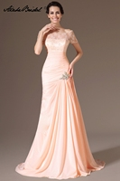 Popular Mermaid Short Sleeve Pink Chiffon Long Formal Women's Dress for Mother of the Bride