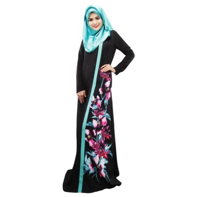 Spring Women Lady Kaftan Abaya Jilbab Islamic Muslim Floral Long Sleeve Maxi Dress