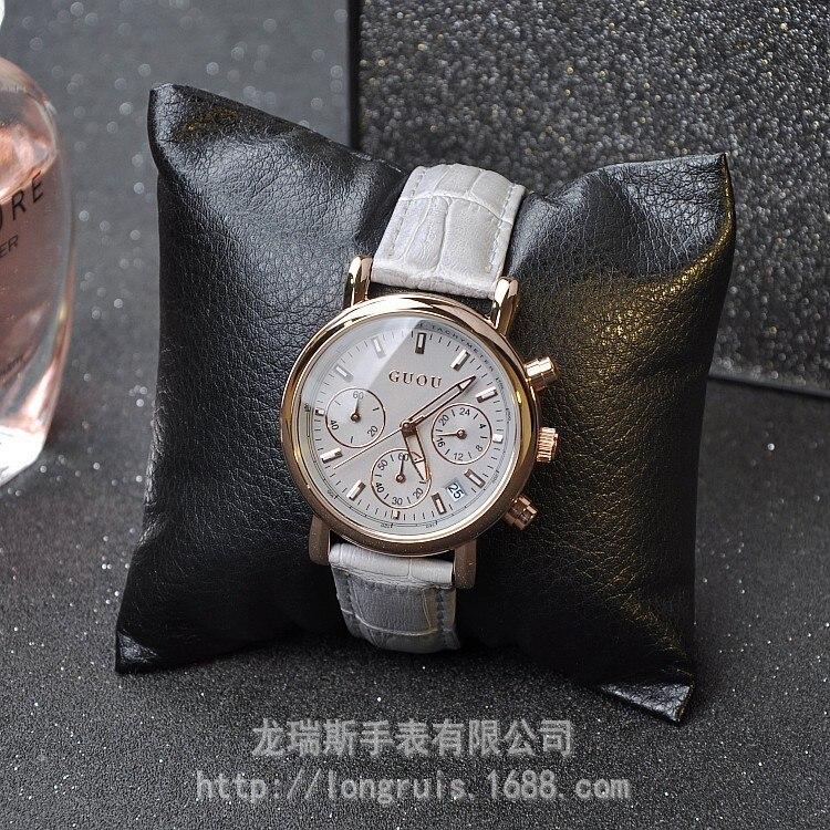 GUOU grey belt calendar fashion lady six pin multifunctional personality Rose Gold Diamond Watch