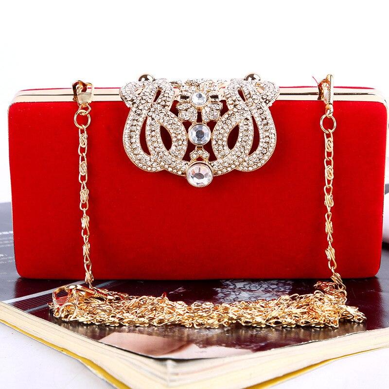 Luxury Crystal Clutch Evening Bag Satin Party Purse Women Wedding Bridal Handbag Pouch Soiree Pochette Chain Crossbody Bag