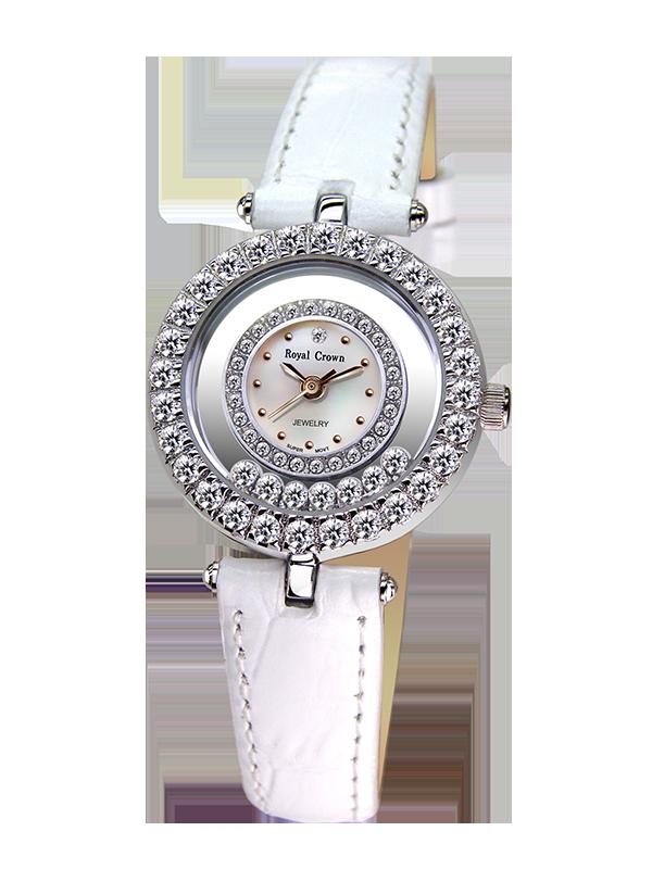 Royal Crown Jewelry Watch 5308 Italy brand Diamond Japan MIYOTA platinum Fashion Dress Bracelet Leather Luxury Rhinestones