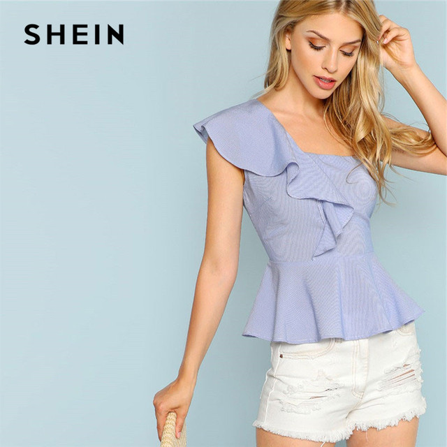 dcf95965c82 SHEIN Blue Exaggerate Ruffle Trim Peplum Striped Blouse 2019 Summer One  Shoulder Going Out Elegant Womens Tops And Blouses