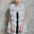 2017 New Women Winter Sleeveless Faux Fox Fur Leather Thick Coat Outerwear Vest Plus Size Padded Jacket Overcoat Parka Q1778