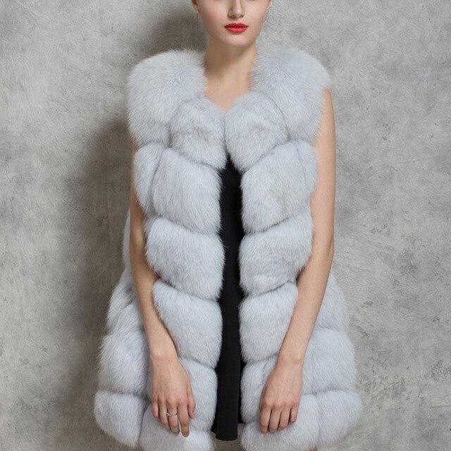 2017 Novo Sem Mangas Mulheres Inverno Faux Pele De Raposa Casaco de Couro Grosso Outerwear Colete Plus Size Casaco Acolchoado Casaco Parka Q1778