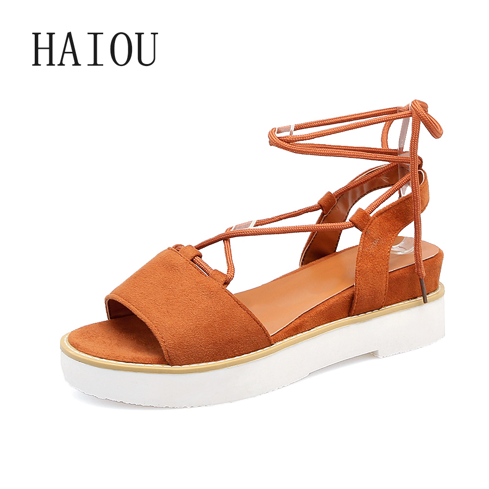 HAIOU 2017 Women Sandals Gladiator Wedge Woman Shoes Beach Sandal Open Toe Summer Shoes Black Shoes Espadrille Platform Lace Up phyanic 2017 gladiator sandals gold silver shoes woman summer platform wedges glitters creepers casual women shoes phy3323