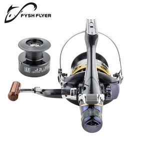 Image 5 - Fishing Reel Carp Spinning Reel J3FR Carbon Front and Rear Drags 18KG Drag 9+1 BB Metal Spool Double / Wooden Handles Available