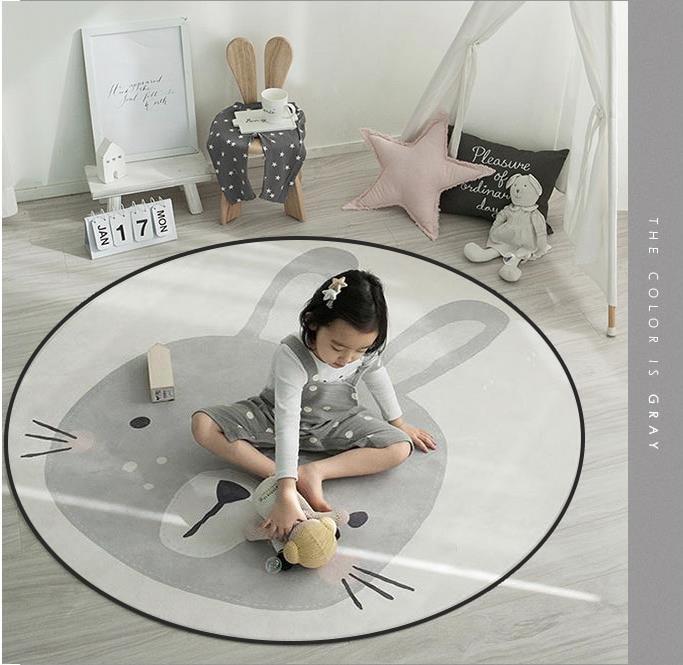 Cartoon Cute Round Decorative Carpet Floor Door Mat Kids Room Yoga Pad Baby Child Kid s