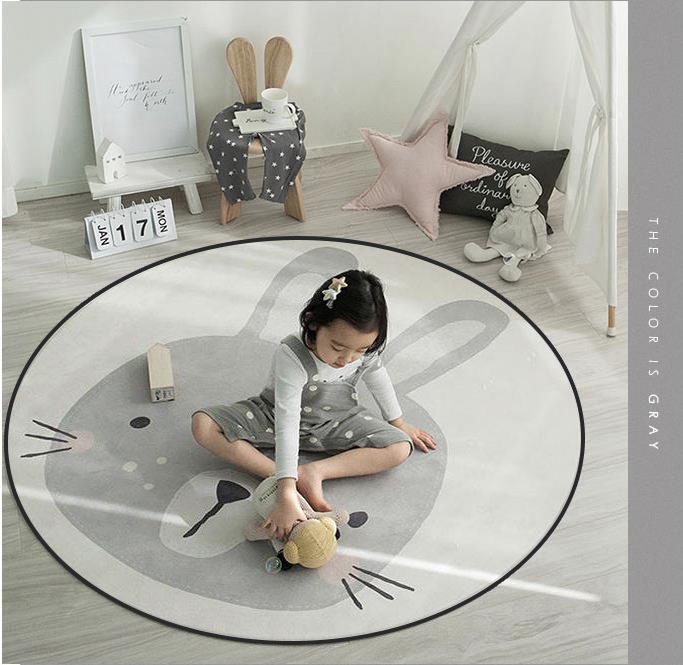 Cartoon Cute Round Decorative Carpet Floor Door Mat Kids Room Yoga Pad Baby Child Kid's Play Crawling Rug Hallway Area Rug Decor