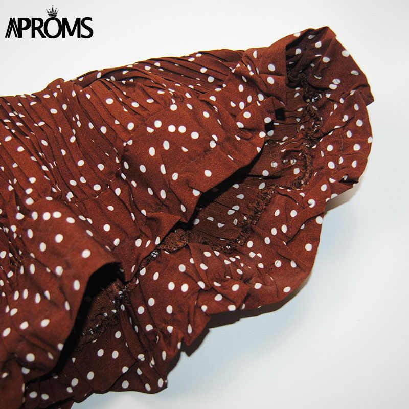 Aproms в белый горошек Цветочный принт плиссированная юбка миди Для женщин эластичные Высокая талия Боковые карманы Юбки Лето 2019 Элегантный женский дно
