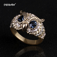 New 2014 Classical Charm Women Colorful Rhinestones Six Flower Leaves Jewelry Hollow Out Blue Eyes Owl