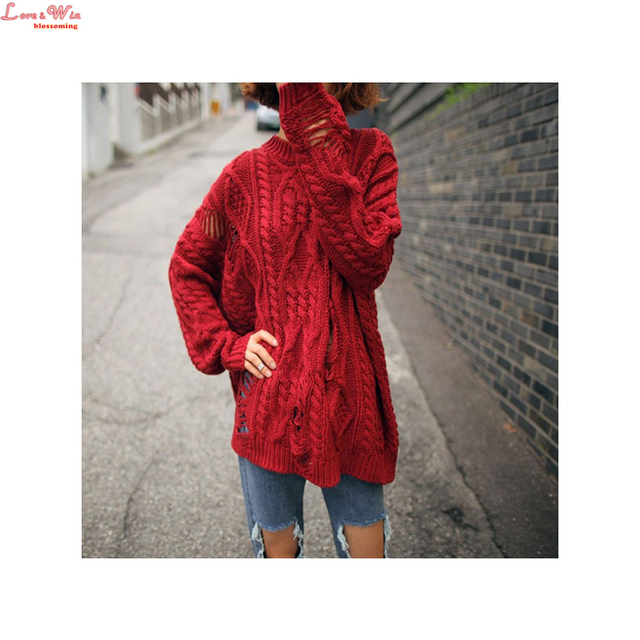 Popular Novetly Holes Loose Woolen Sweater Pullovers Fine Lazy Casual Knitting Sweater Jumper Outwear