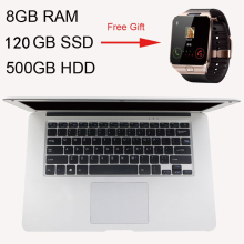 Gift Smart Watch 14inch Ultrathin Quad Core 8GB Ram+120GB SSD+500GB HDD Fast Boot Windows 10 Laptop Notebook Computer