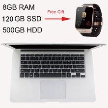 Gift Smart Watch 14inch Ultrathin Quad Core J1900 8GB Ram+120GB SSD+500GB HDD Fast Boot Windows 10 Laptop Notebook Computer