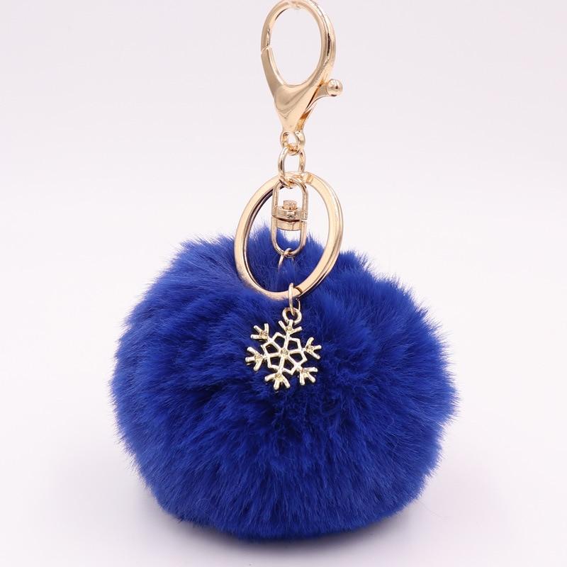Брелок с помпоном и подвеской в виде снежинки, Пушистый брелок с плюшевым шариком для женщин и девушек, аксессуары для сумок, украшение
