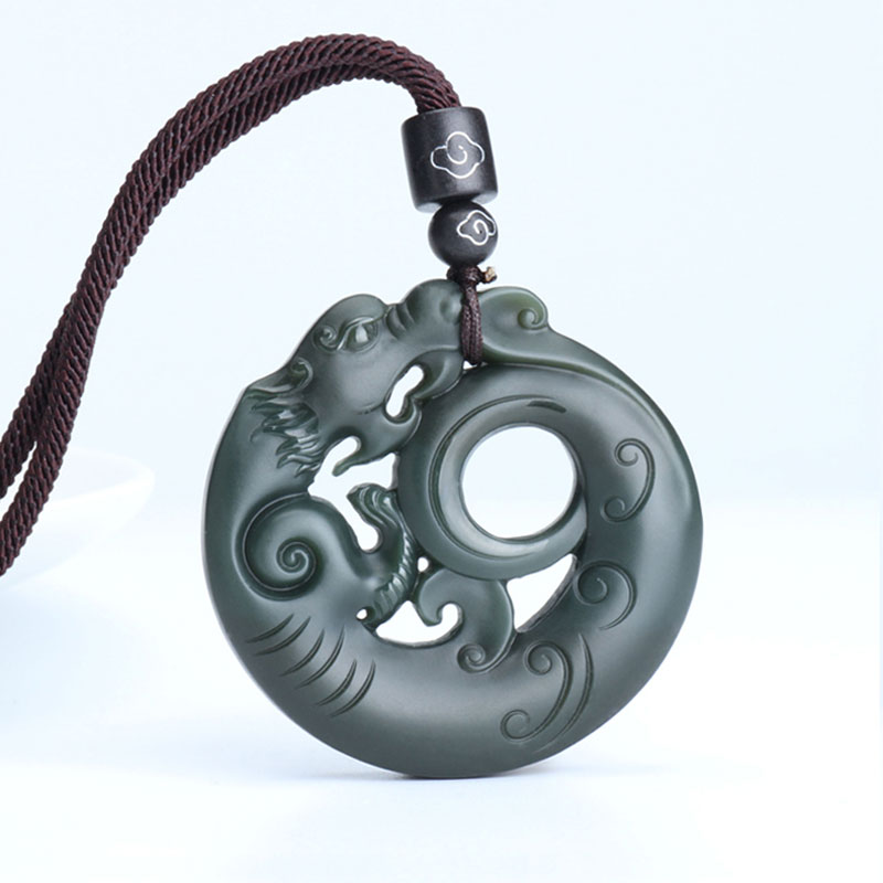 Natural Hetian jade double-sided carved necklace pendant antique zodiac dragon pendant men and women jade jewelry gifts