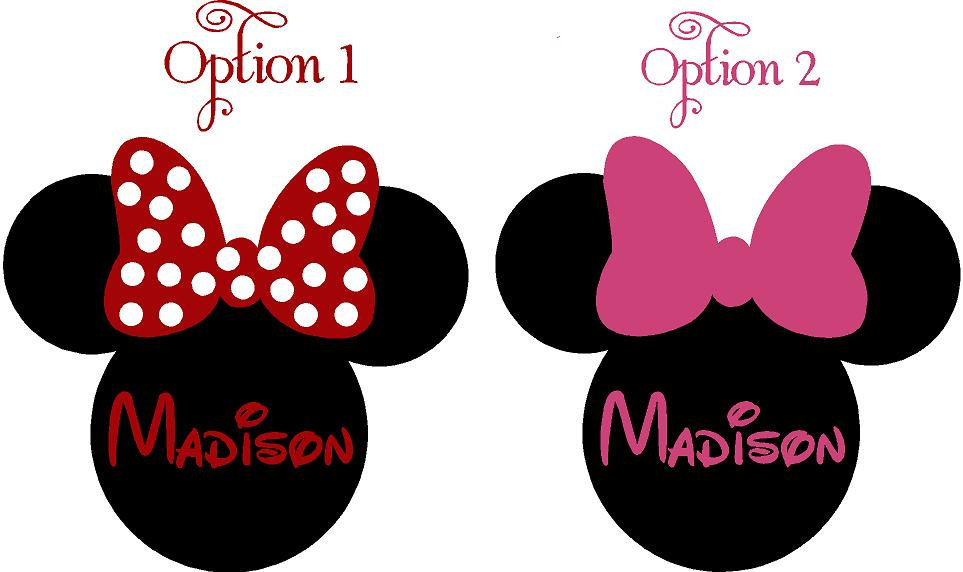 2PcsSet Minnie Mouse Ears Name PERSONALIZED Vinyl Wall Lettering