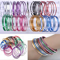 Wholesale Mix Lots 50Pcs Fashion Jewelry Indian Dance Bangle Pulseira Aluminum Bracelets for Women Men Bulks