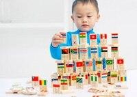 100 PZ Mondo Bandiera domino gioco gioca giocattoli blocchi di costruzione Per Bambini Montessori legno early educativi cognitive juguete brinquedo