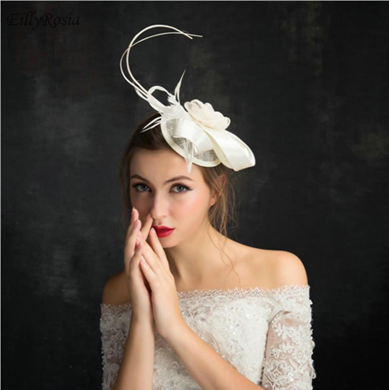 938d9d9396793 Detail Feedback Questions about Ivory Women's Hat for Wedding Evening Party  Weddings Hats Bride Feathers Fascinator Hats Church Sinamay chapeau femme  ...