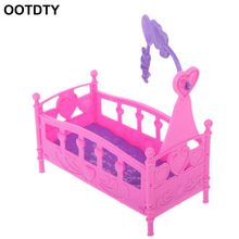 Rocking Cradle Bed Doll House Toy Furniture For Kelly Barbie Doll Accessories Girls Toy Gift Baby Shower Gift Girls Toy(China)