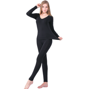 Image 2 - YOOY Brand 2018 New Winter Thermal Underwear Women Elastic Breathable Female U neck Casual Warm Long Johns Sets