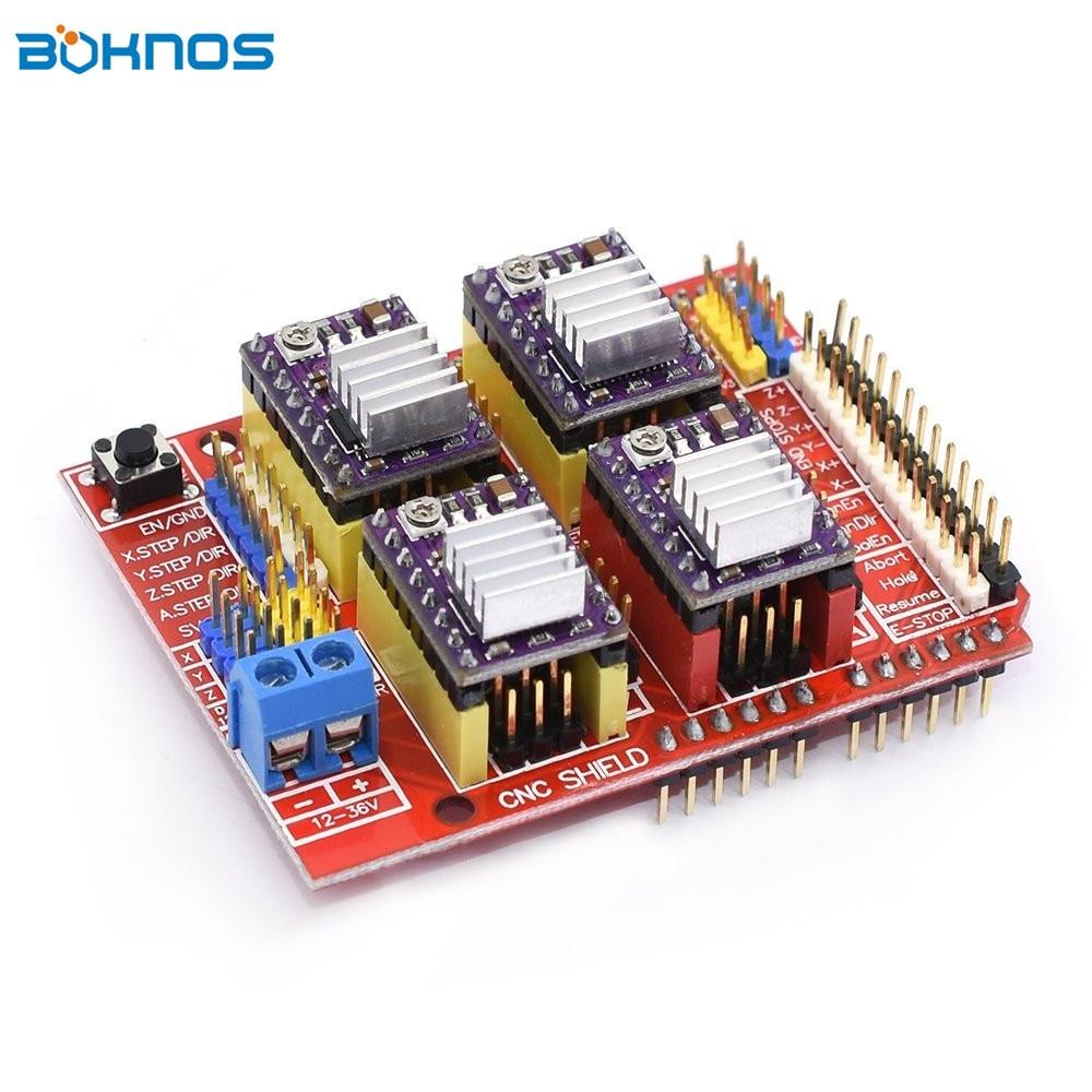 4 x DRV8825 Драйвер шагового двигателя 4 шт. + плата расширения щит с ЧПУ для Arduino V3 гравер 3D принтер запчасти Stepstick kit