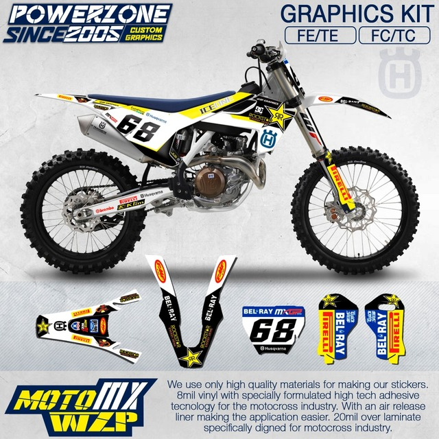 Customized team graphics backgrounds decals 3m custom stickers kit for husqvarna 2015 16 17 18 fe