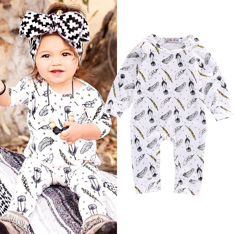 New Kids Toddler Infant Baby Girls Boys Feather Romper Jumpsuit Outfits Cotton Cothes 0-18M puseky 2017 infant romper baby boys girls jumpsuit newborn bebe clothing hooded toddler baby clothes cute panda romper costumes