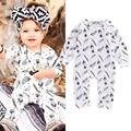 Novas Crianças Da Criança Infantil Do Bebê Meninas Meninos Romper Pena Macacão Outfits Algodão Cothes 0-18 M