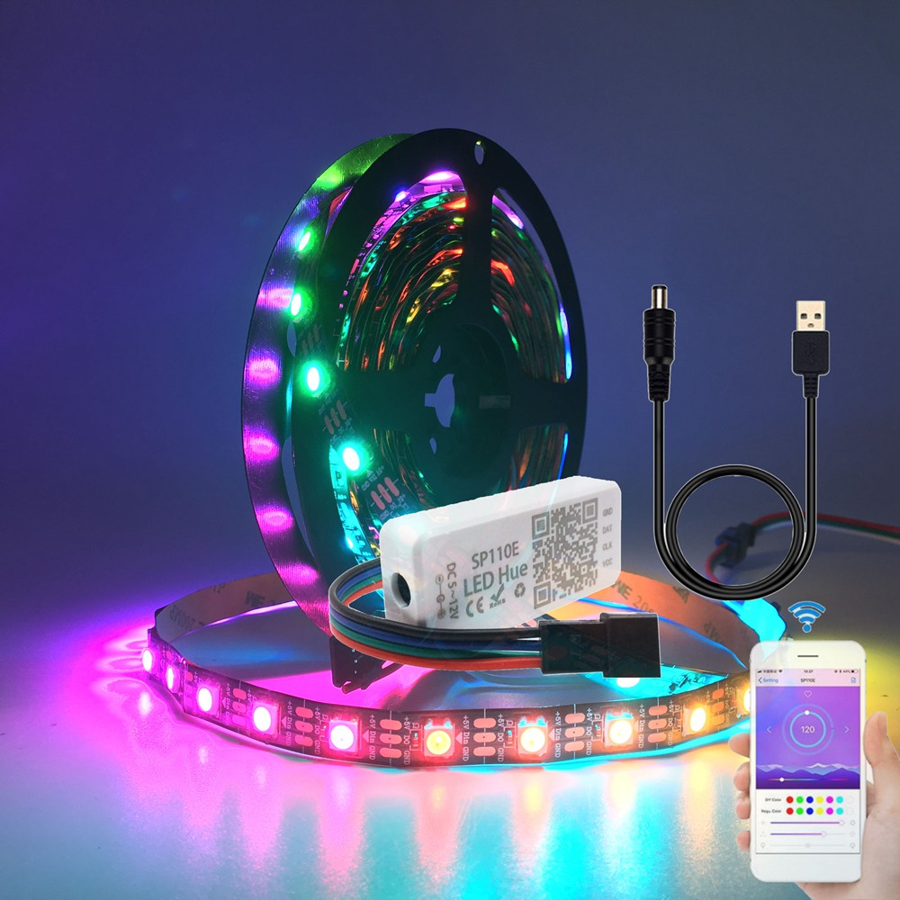 1m/2m/3m/4m/5m USB <font><b>WS2812B</b></font> WS2812 Led Strip Light With SP110E Bluetooth Led Controller With USB DC Connector Kit DC5V image