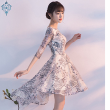 Ameision Simple High Low Evening Dresses Long 2019 Elegant O-neck Half Sleeves Lace Prom Dresses For Graduation Plus Size novelty collarless half sleeves high low tassel embellished kimono for women
