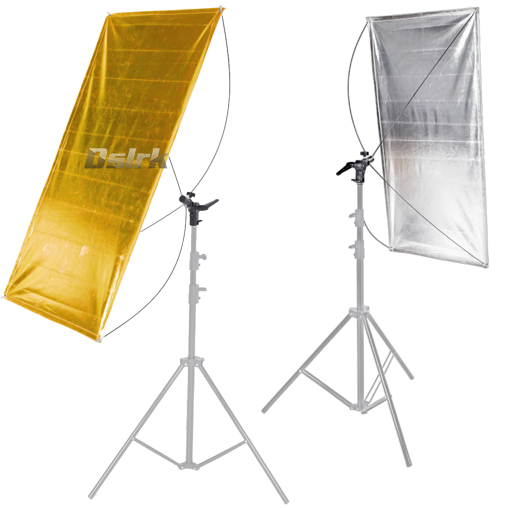 ASHANKS 2 in 1 60*120cm Reflector photography square Light Control Panels System with  Gold Silver fabrics and Carrying Bag ashanks small photography studio kit