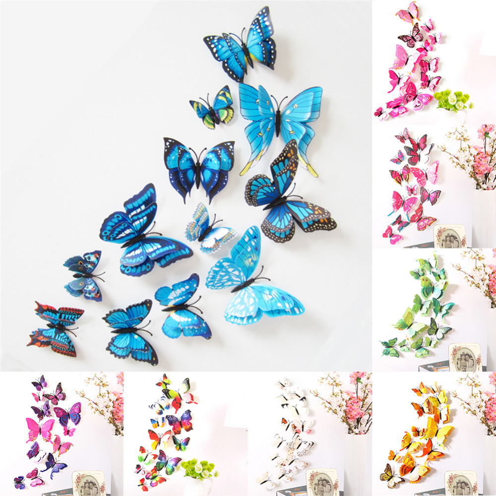 12PC DIY3D Simulated Butterfly Double Wing Wall Stickers Home Decor ...