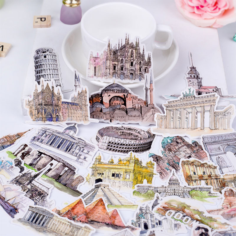 DIY watercolor architectural landscape stickers travel around the world travel countries scrapbook album diary decorativestickes(China)
