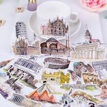Pegatinas de paisaje arquitectónico de acuarela, álbum de recortes, diario, decoración, viaje por el mundo