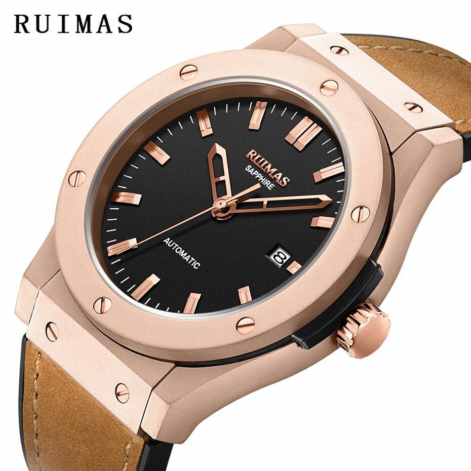 Hommes mode cuir automatique montre Reloj Hombre 2018 affaires mécaniques montres mâle horloge RUIMAS montres miborough 8215 - 2